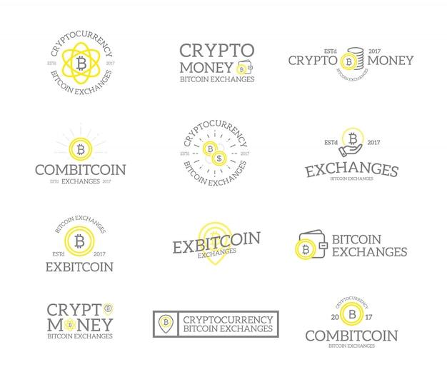 Set di bitcoin e logo di criptovaluta.