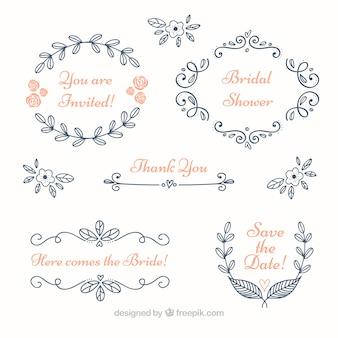 Set di blu cornici floreali di nozze