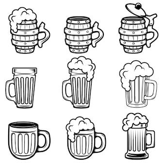 Set di boccali di birra. elementi per logo, etichetta, emblema, segno, distintivo. illustrazione