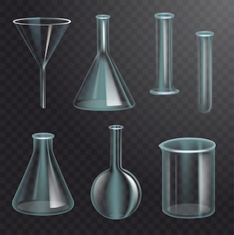 Set di boccette chimiche realistiche. imbuto vuoto trasparente, bulbo, bottiglia, provetta, filtro. sfondo trasparente scuro. illustrazione realistica
