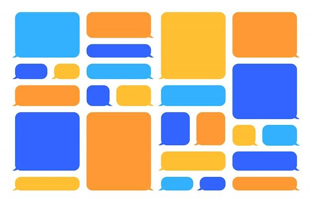 Set di bolle di discorso colorato