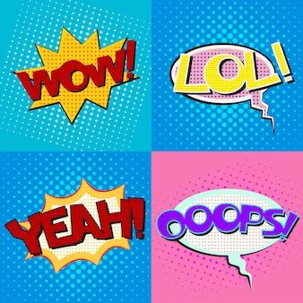 Set di bolle di discorso di pop art