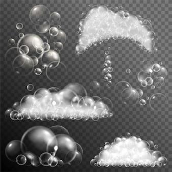 Set di bolle di sapone trasparenti realistici.
