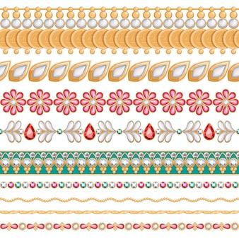 Set di bordi orizzontali senza giunte di pietre preziose colorate. stile indiano etnico. bracciale a catena collana gioielli.