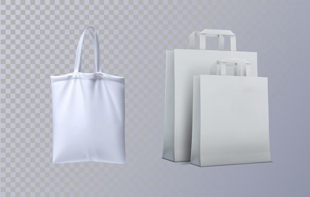 Set di borse di tela. modello. shopper tote in bianco e nero realistiche.