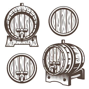 Set di botti di legno d'epoca in diversi scorci. stile monocromatico. isolato su sfondo bianco