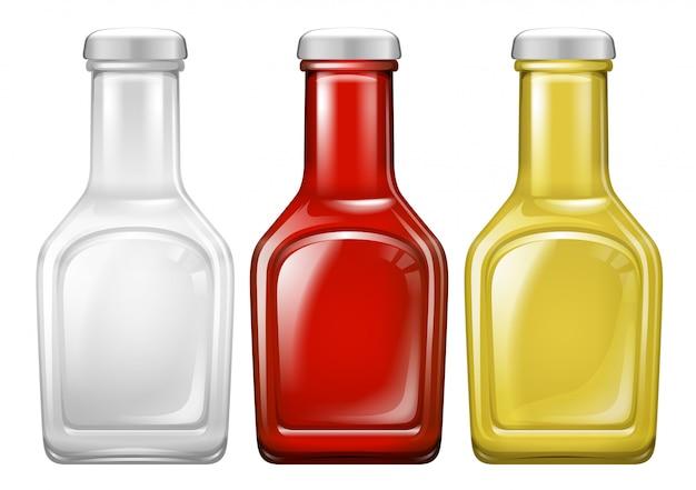 Set di bottiglia di salsa