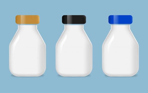 Set di bottiglia per il latte in vetro
