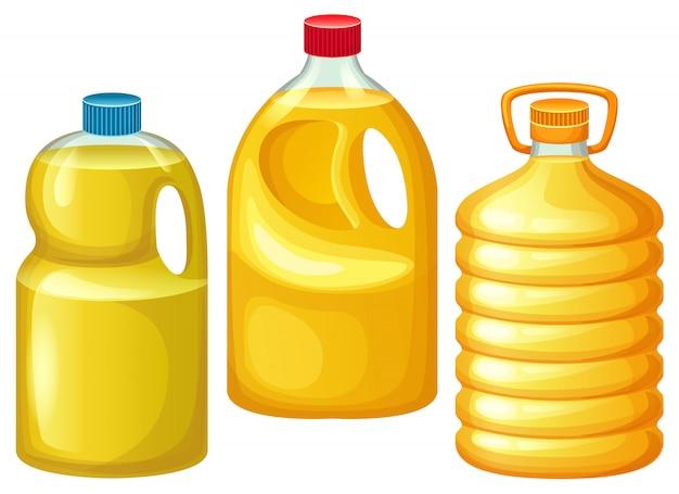 Set di bottiglie con oli vegetali.