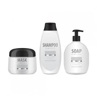 Set di bottiglie cosmetiche bianche. tubo o contenitore realistico per crema, unguento, lozione. fiala cosmetica per shampoo. illustrazione