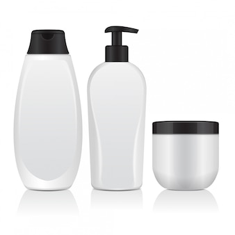 Set di bottiglie cosmetiche realistiche. tubo, contenitore per crema, bottiglia con dosatore. illustrazione