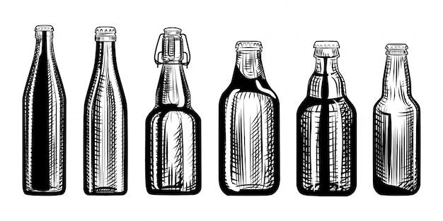Set di bottiglie di birra.
