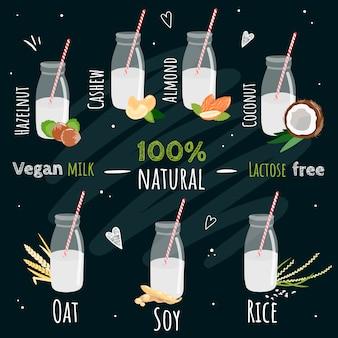 Set di bottiglie di latte vegano. tipi di latte non caseario: soia, riso, avena, cocco, mandorla, anacardi, nocciole. prodotto naturale, vegetale, ecologico. senza lattosio. illustrazione su sfondo nero.