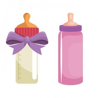 Set di bottiglie di latte