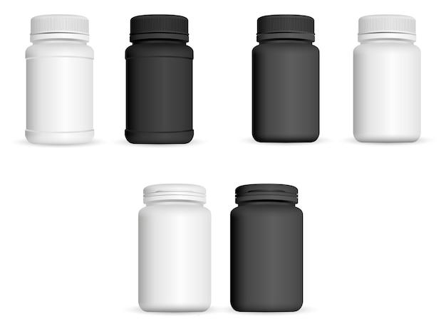Set di bottiglie di medicina realistica. 3d farmaceutico