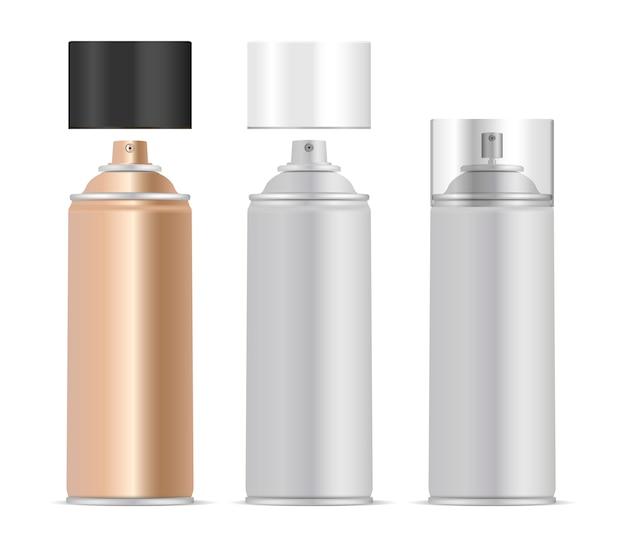 Set di bottiglie di metallo spray aerosol