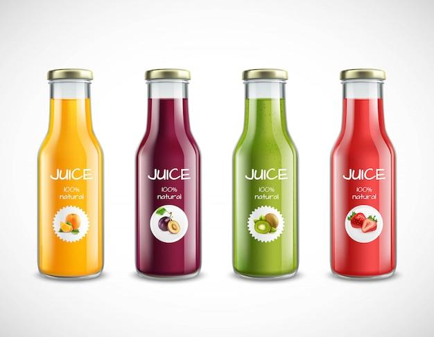 Set di bottiglie di succo di frutta
