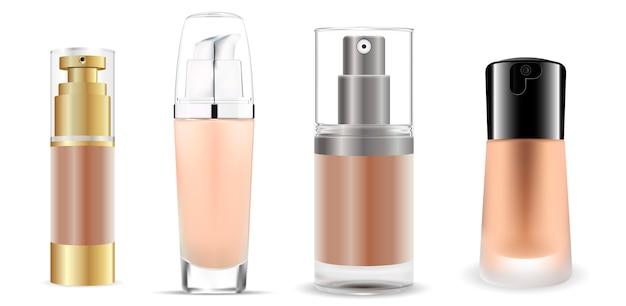 Set di bottiglie di vetro base cosmetico. pacchetto vettoriale