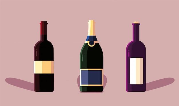 Set di bottiglie di vino, giornata nazionale del vino