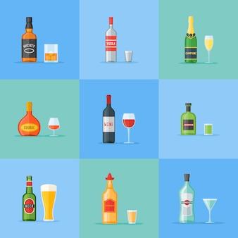 Set di bottiglie e bicchieri con bevande alcoliche. icone di stile piatto.