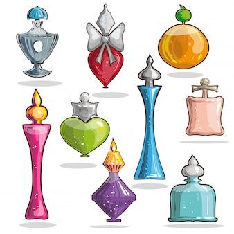 Set di bottiglie eleganti di vetro vettoriale con profumi.