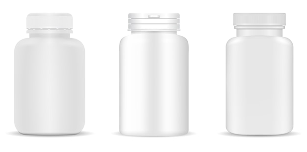 Set di bottiglie mediche. contenitori bianchi per droghe, pillole, integratori.