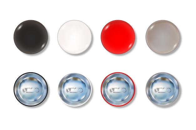 Set di bottoni colorati sul davanti e sul retro
