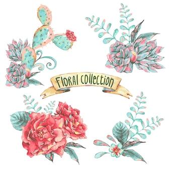 Set di bouquet con fiori che sbocciano