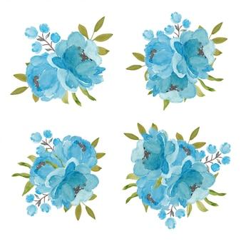 Set di bouquet di fiori di peonia blu in stile acquerello
