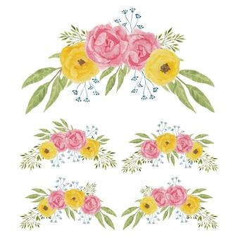 Set di bouquet di fiori di peonia dell'acquerello