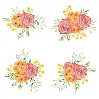 Set di bouquet di fiori di rosa dipinti ad acquerello bello