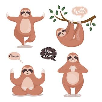 Set di bradipi carino appeso all'albero e fare yoga.