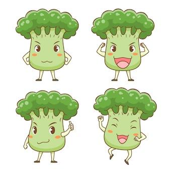 Set di broccoli carino cartone animato in diverse pose.