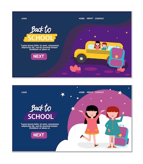 Set di bundle di pagina di destinazione di ritorno a scuola
