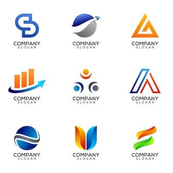 Set di business logo design vettoriale modello