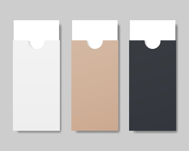 Set di busta con mockup di carta bianca.