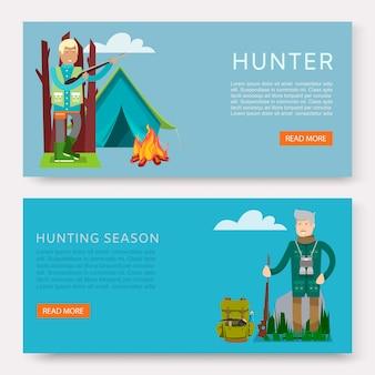 Set di cacciatori su banner di caccia.
