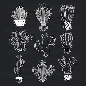 Set di cactus carino doodle con vaso di cactus