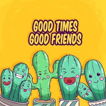 Set di cactus con la faccia buffa utilizzando lo stile disegnato a mano colorato su sfondo giallo