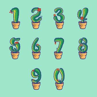 Set di cactus numerico sul vaso