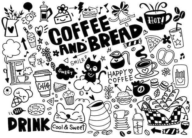 Set di caffè disegnati a mano e deliziosi dolci. illustrazione