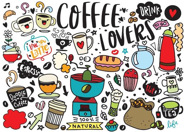 Set di caffè disegnati a mano e deliziosi dolci