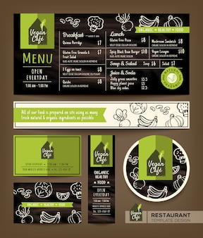 Set di caffè ristorante vegetariano e vegano