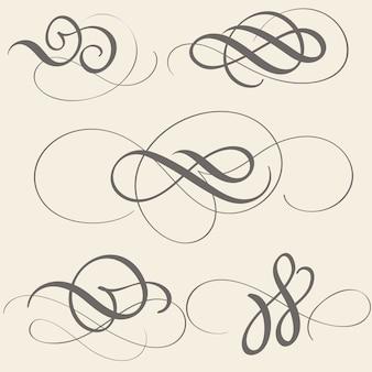 Set di calligrafia fiorire arte con spirali decorativi vintage.