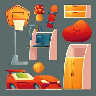 Set di camerette per bambini - mobili, giocattoli per la stanza del ragazzo.