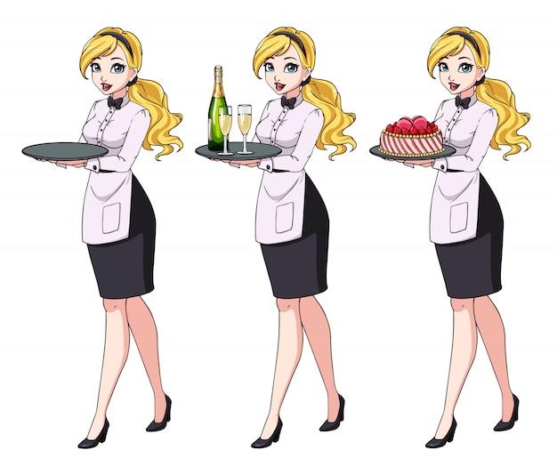 Set di cameriere bionde che tengono champagne e torta, indossando l'uniforme nera