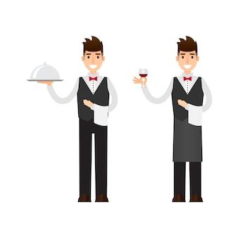 Set di cameriere e personaggio del sommelier.