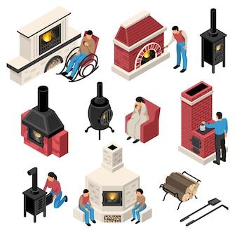 Set di caminetti isometrici e fornaci di vari con personaggi umani isolati