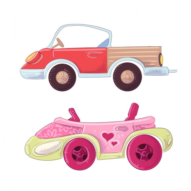 Set di camion simpatico cartone animato e cabriolet per l'illustrazione di bambini