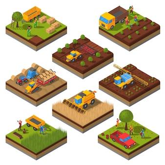 Set di campi isometrici macchine agricole